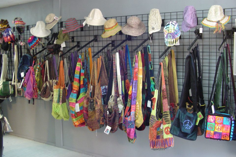 A whole wall of hats and bags.